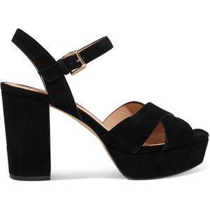 Michael Kors Divia Black Suede Platform Heels